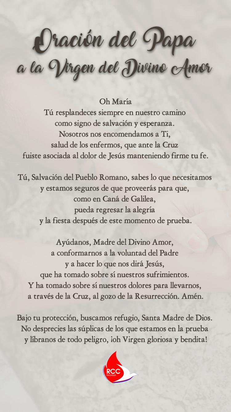 Oración completa del Papa a la Virgen del Divino Amor